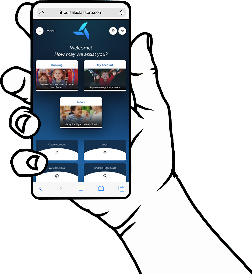 Hand holding phone showing dashboard screen of Customer Portal