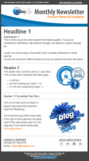 Behind The Scenes Creating Monthly Newsletters With MailChimp - 3 column newsletter template